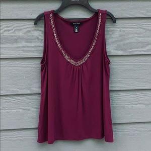White House Black Market Blouse Embellished neck